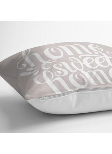 Real Homes Home Sweet Home Dijital Baskılı Yastık Kırlent Kılıfı Renkli